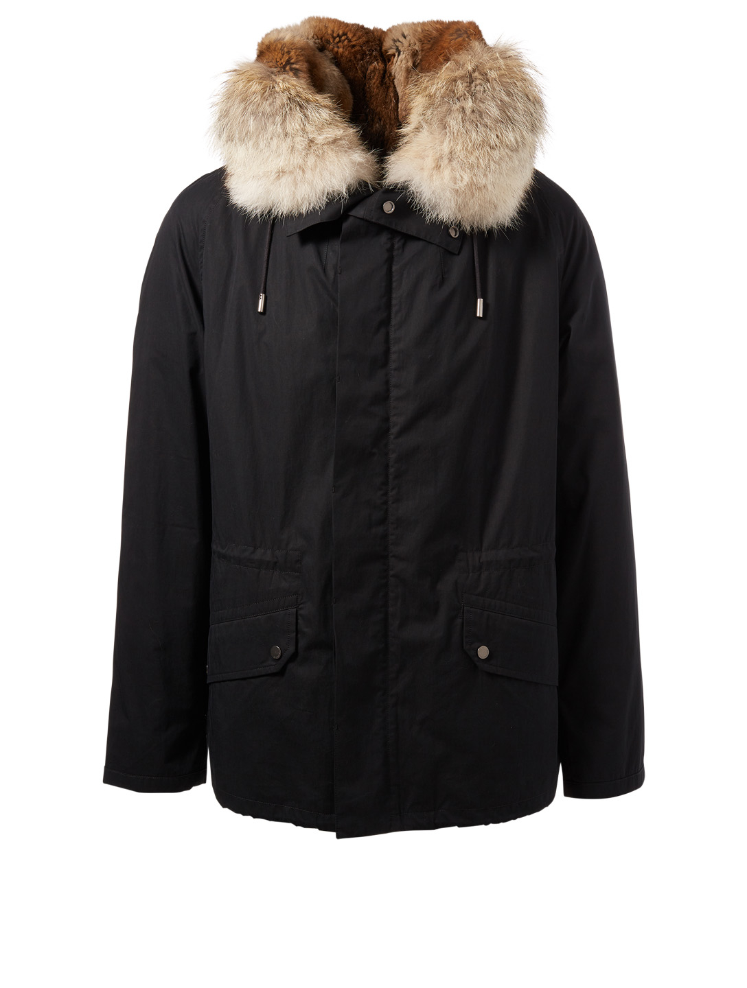 YVES SALOMON - ARMY Short Parka With Fur Men's Black