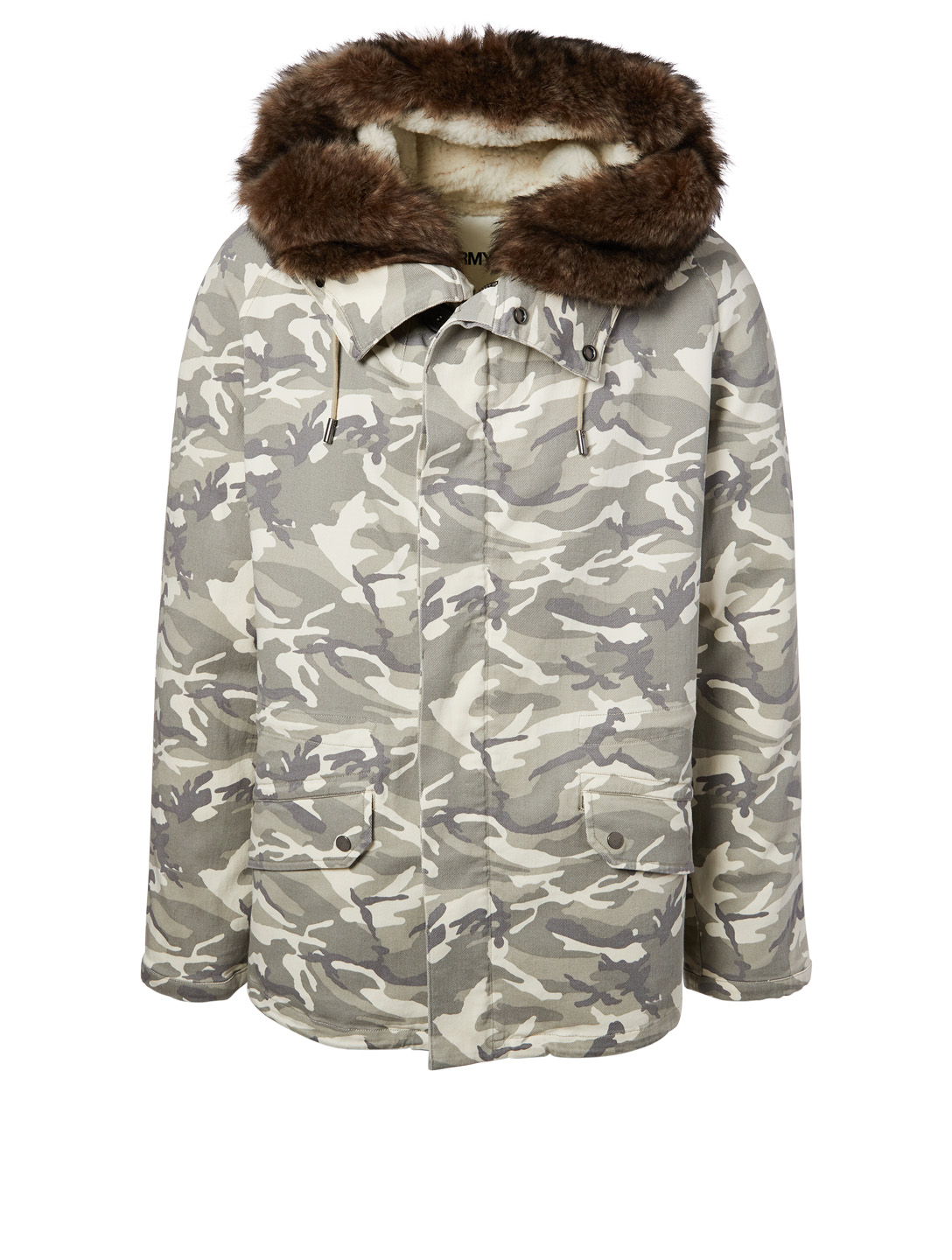 89dbf3936c0ae YVES SALOMON - ARMY Shearling-Lined Parka In Camo Print Men's White ...