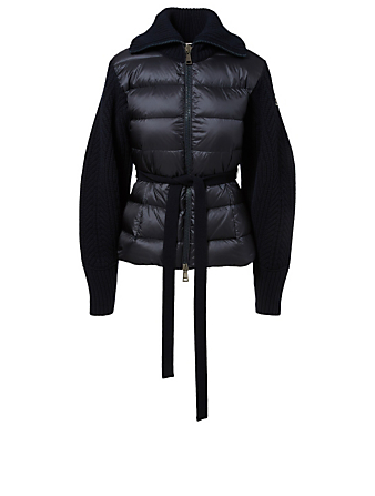 MONCLER Voluminous Down Coat With Knit Base Women's Blue