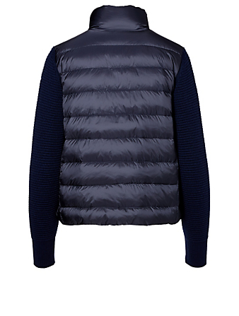 MONCLER Zip-Up Down Wool Cardigan Designers Blue