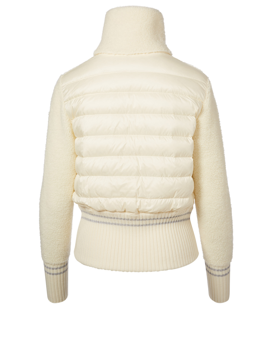 MONCLER Zip-Up Down Wool Cardigan With Stripe Women's White