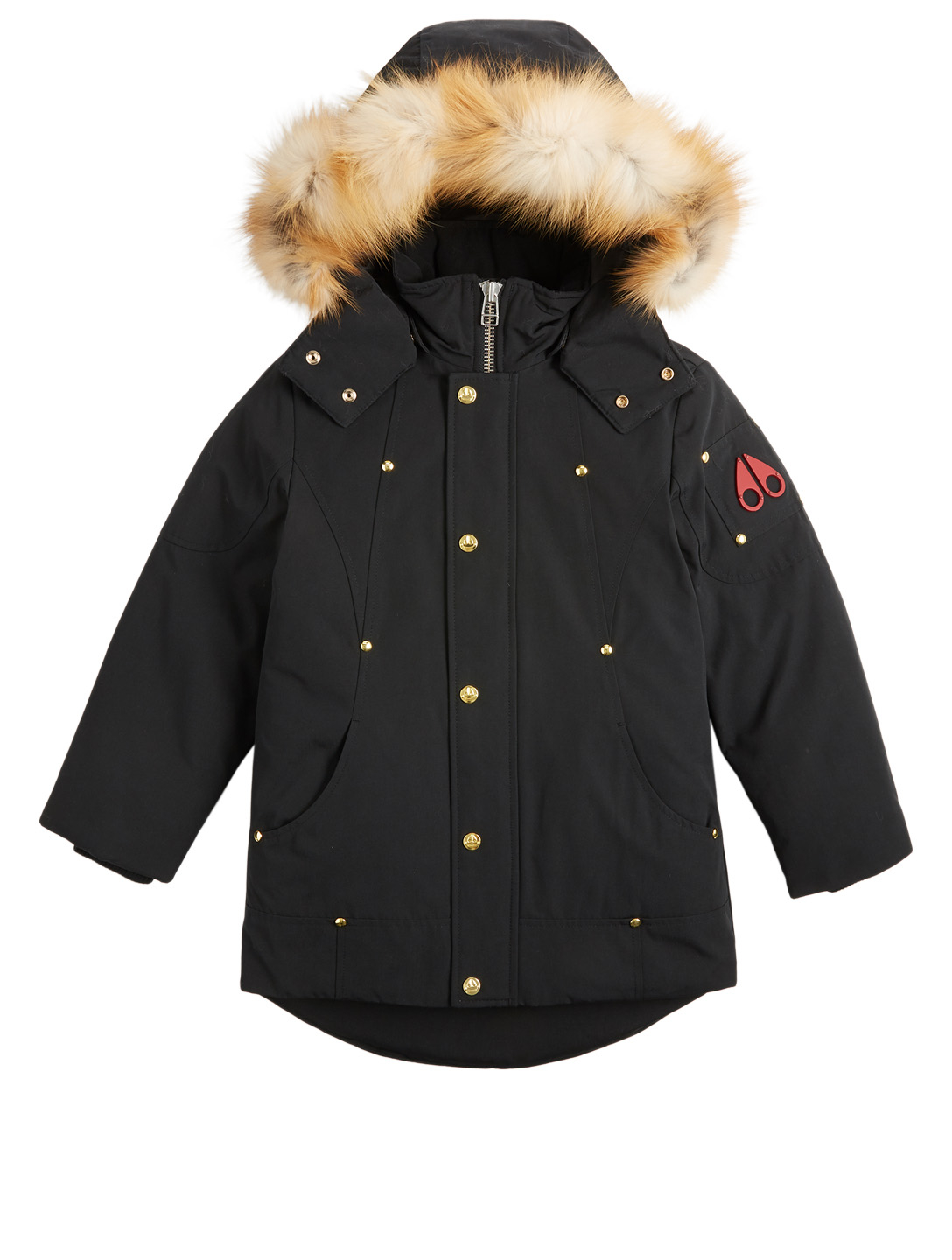 MOOSE KNUCKLES Kids Down Parka With Fur Hood Kids Black