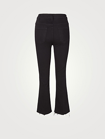 MOTHER Hustler High-Rise Bootcut Jeans With Fray Women's Black