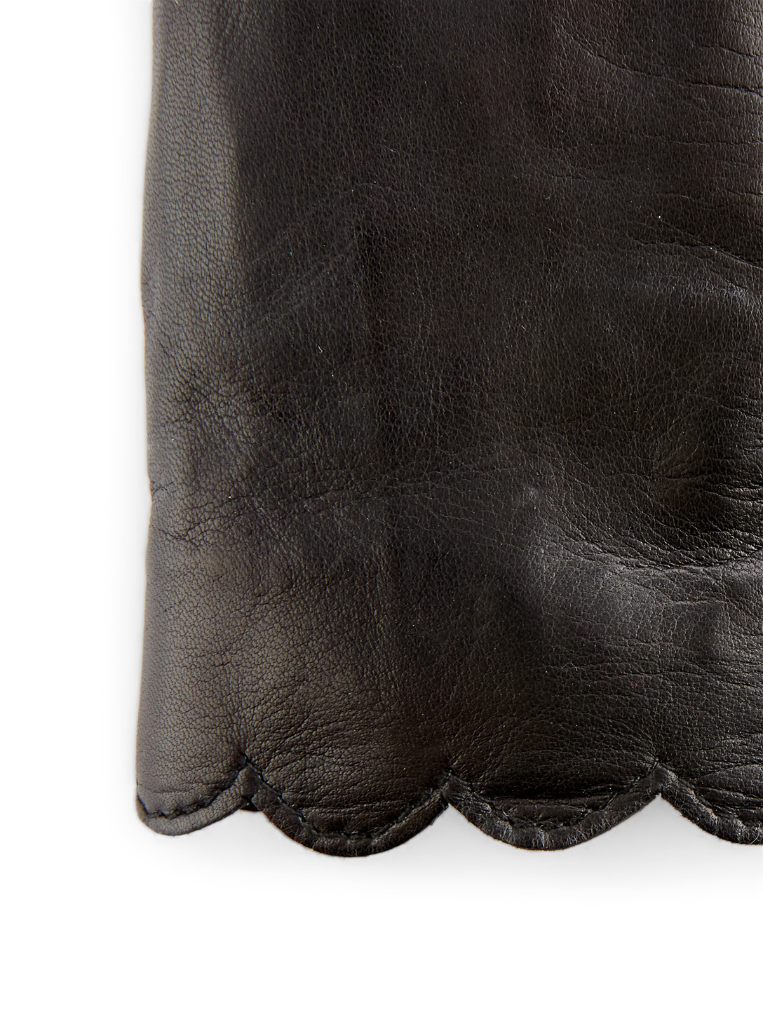 FLORIANA GLOVES Leather Scalloped Gloves Womens Black