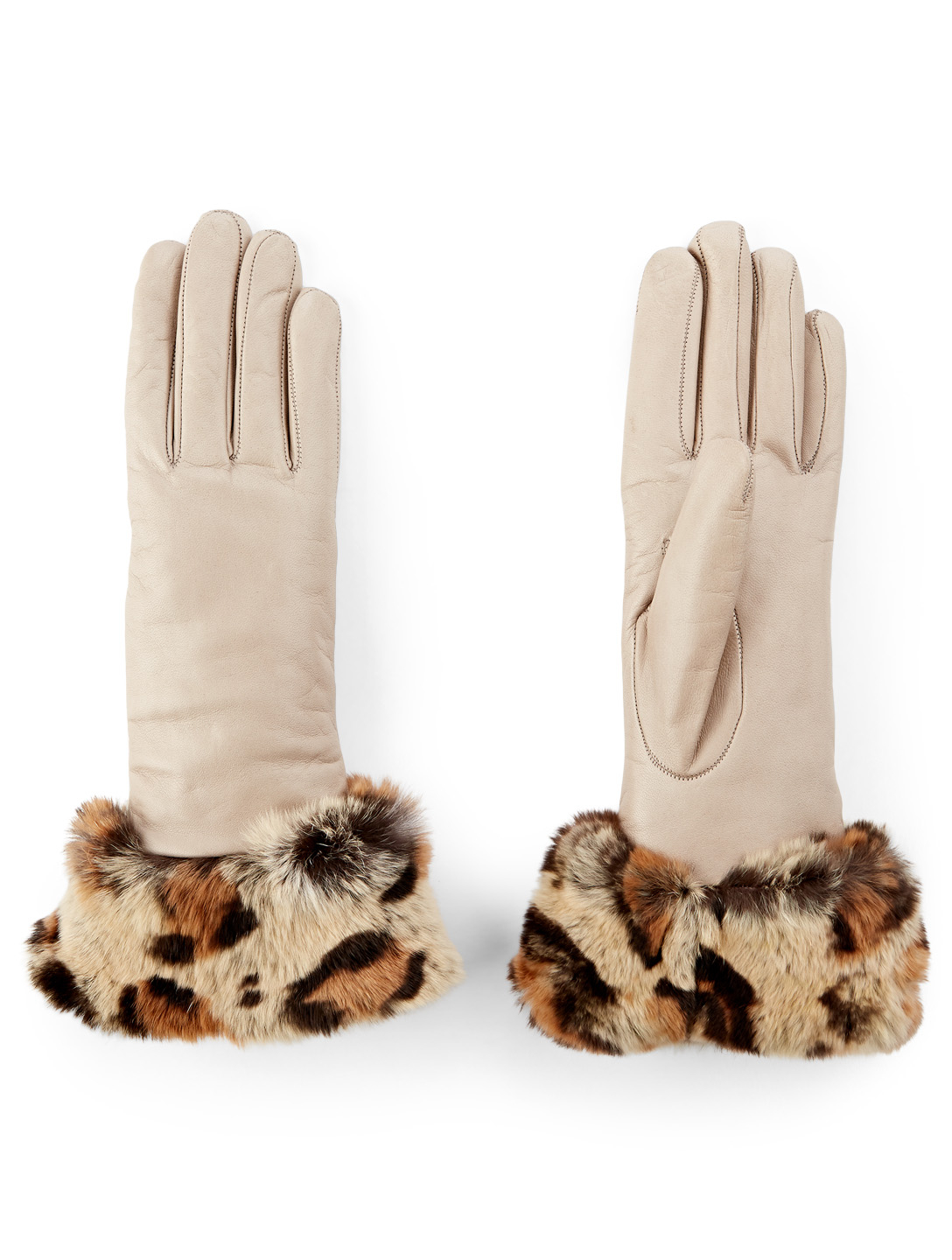 FLORIANA GLOVES Leather Gloves With Fur Cuff in Leopard Print Womens Brown