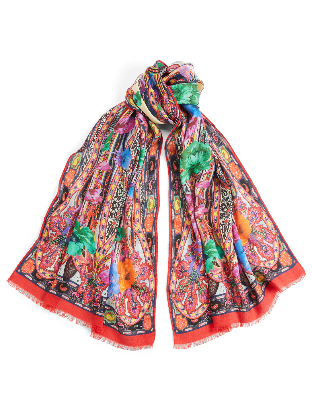 ETRO Wool And Silk Scarf In Floral Print Women's White