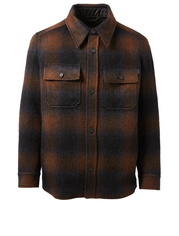 BRIONI Veste-chemise en laine brossée et en laine d alpaga à carreaux  Hommes ... d09566aebe0