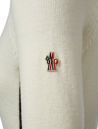 MONCLER GRENOBLE Two-Tone Wool Turtleneck Sweater Designers White