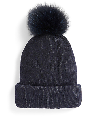 INVERNI Giulia Ribbed Cashmere And Wool Toque With Fur Pom Collections Grey