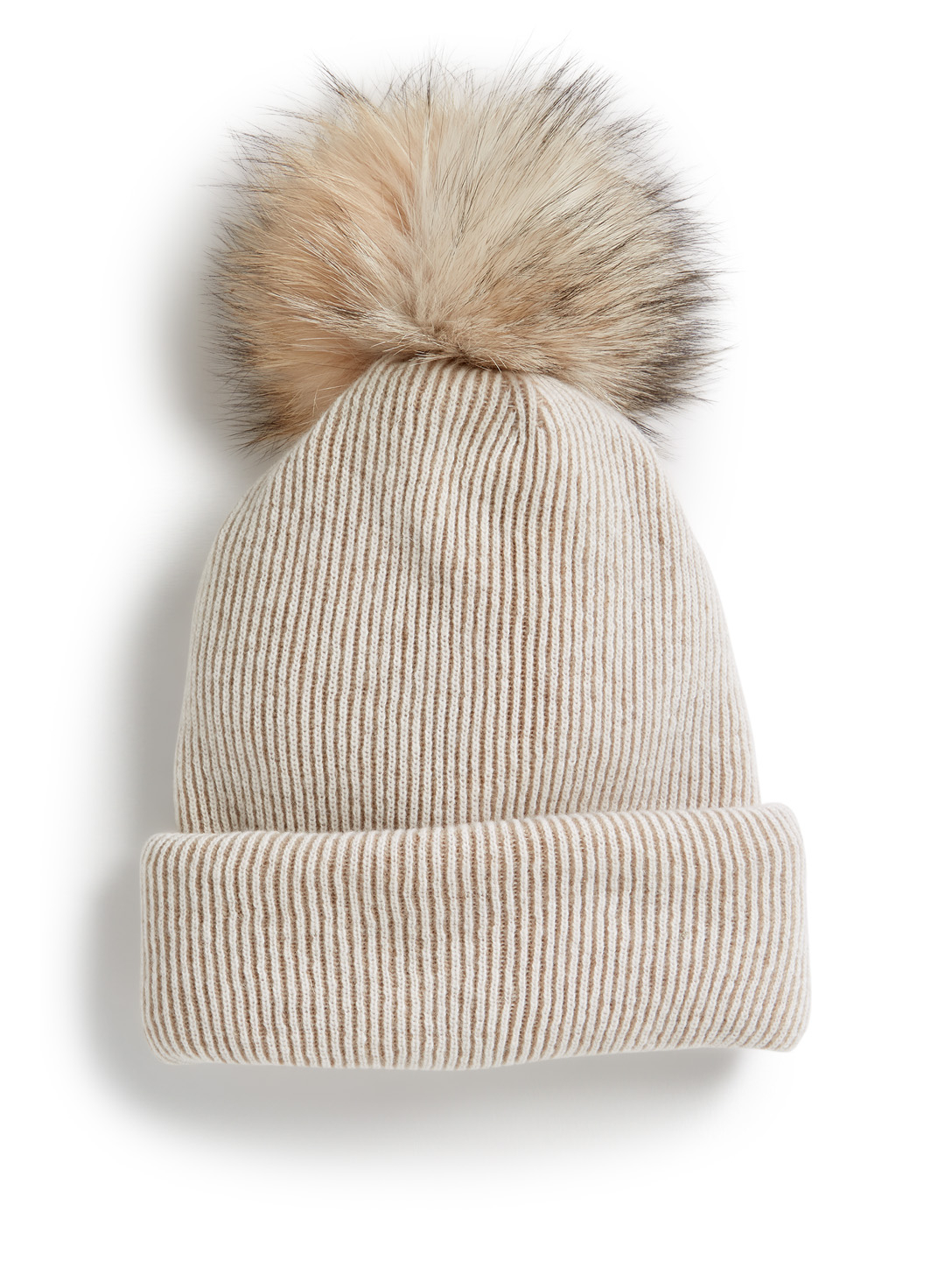INVERNI Giulia Ribbed Cashmere And Wool Toque With Fur Pom Collections Neutral