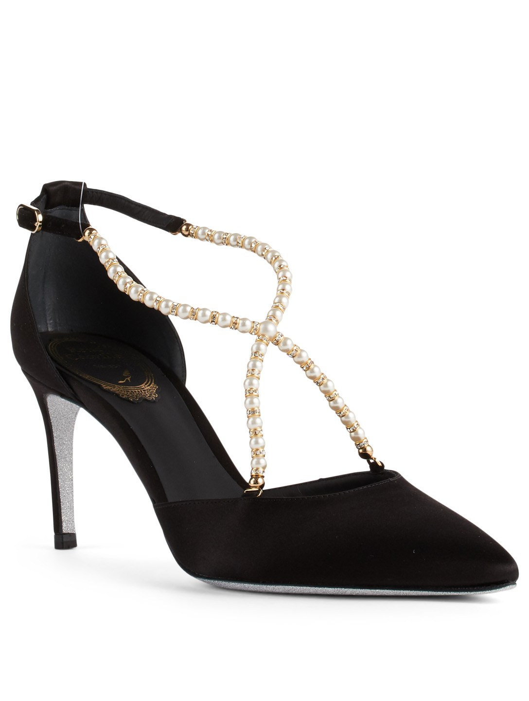 RENE CAOVILLA Eliza 75 Satin Pumps With Pearl Strap Womens Black