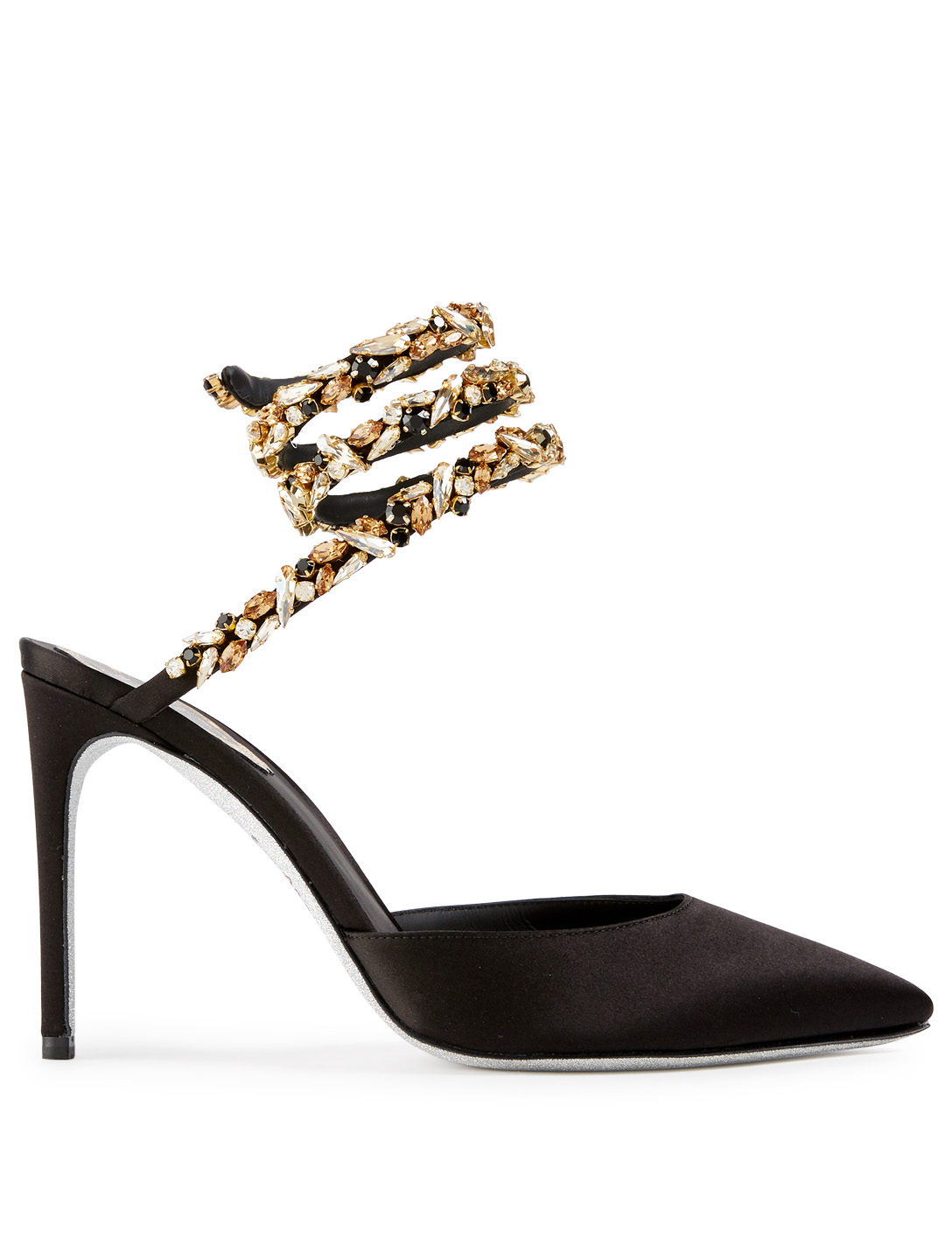 RENE CAOVILLA Satin Pumps With Crystal Strap Womens Black
