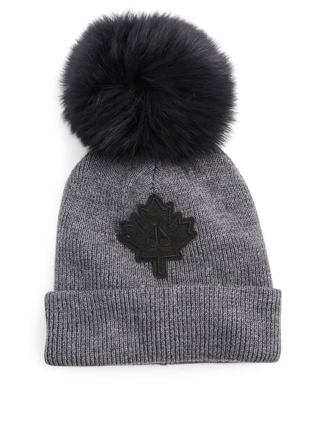 MOOSE KNUCKLES Moose Maple Leaf Toque With Fur Pom Womens Grey