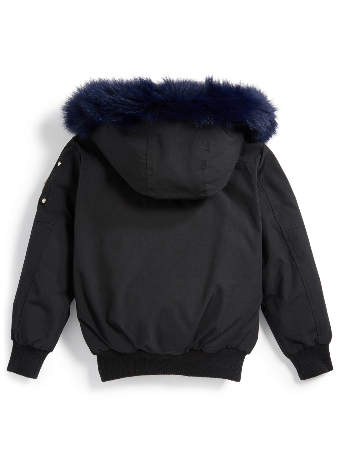 MOOSE KNUCKLES Boys Down Bomber Jacket With Fur Hood Kids Black