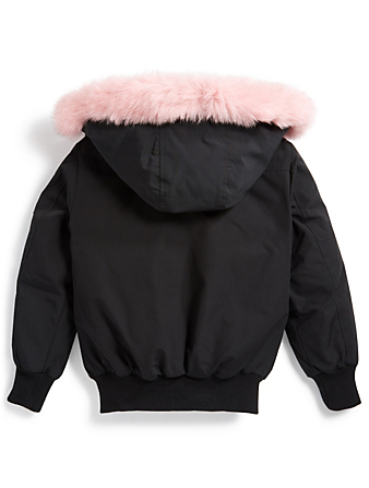 MOOSE KNUCKLES Girls Down Bomber Jacket With Fur Hood Kids Black