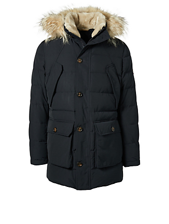 ELEVENTY Parka With Fur Trim Men's Blue
