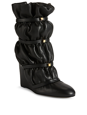 STUART WEITZMAN Astor Leather Puffer Wedge Boots Womens Black