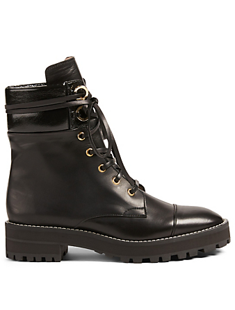 STUART WEITZMAN Lexy Leather Combat Boots Womens Black