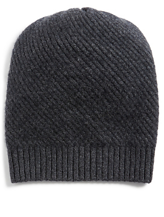 PORTOLANO Cashmere Herringbone Knit Toque Womens Grey
