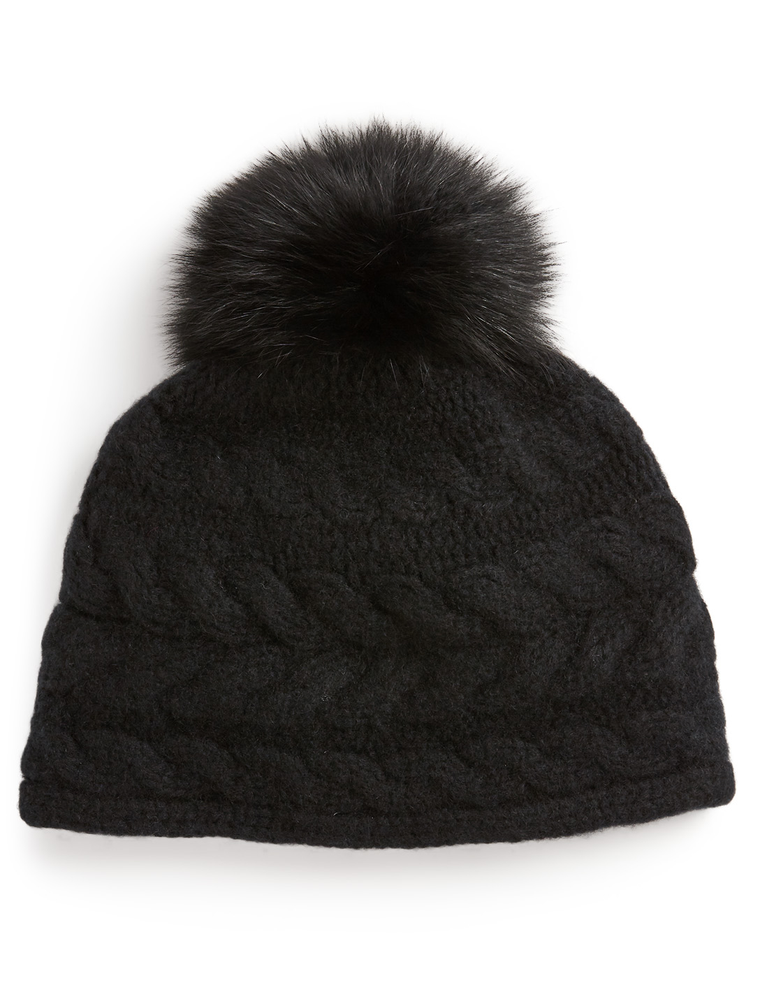 PORTOLANO Cashmere Cable Knit Toque With Fur Pom Womens Black
