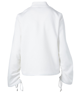 MONCLER GENIUS 6 Moncler x Noir Zip-Up Sweater With Floral Detail Women's White
