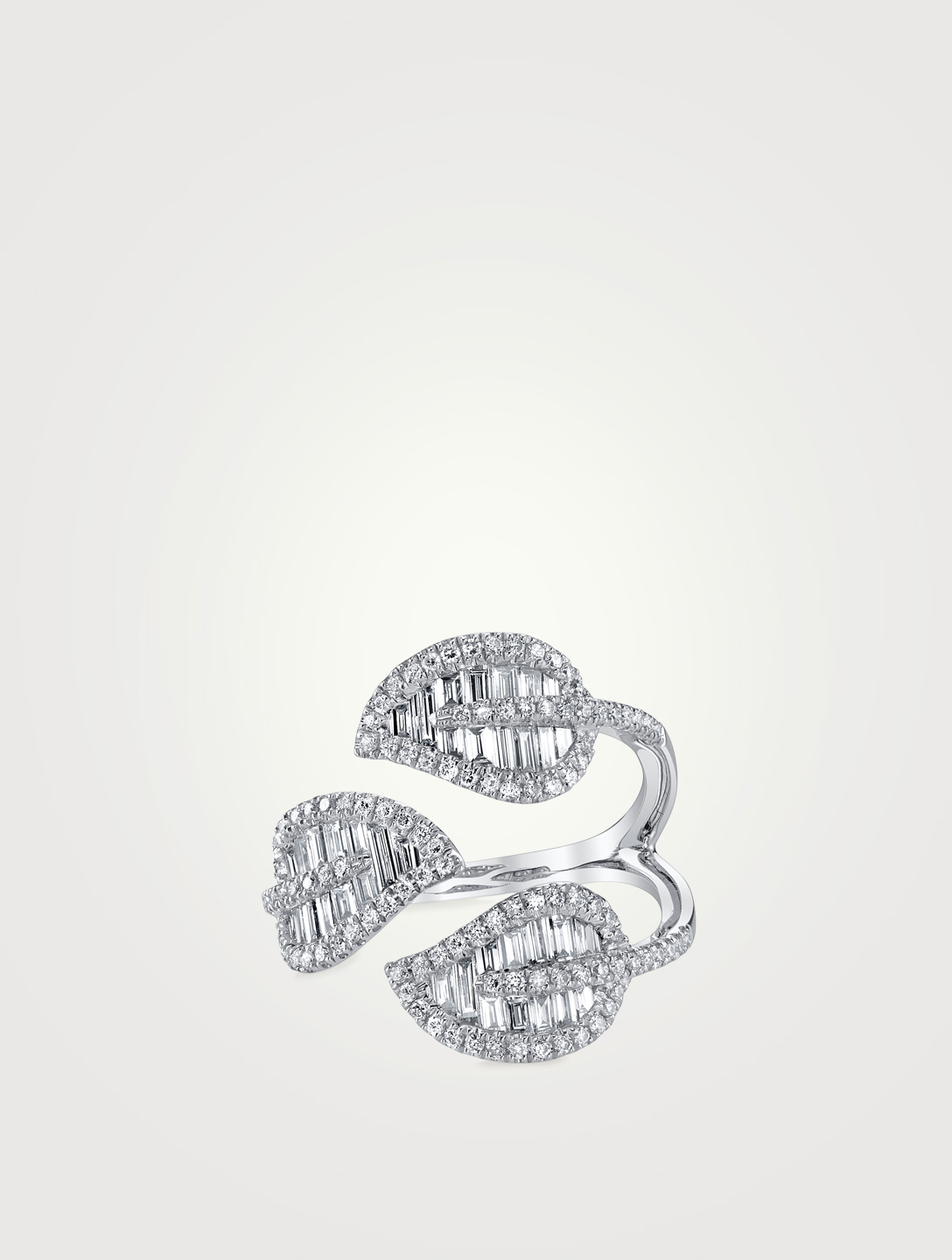 ANITA KO 18K White Gold Three Leaves Ring With Diamonds Womens Silver