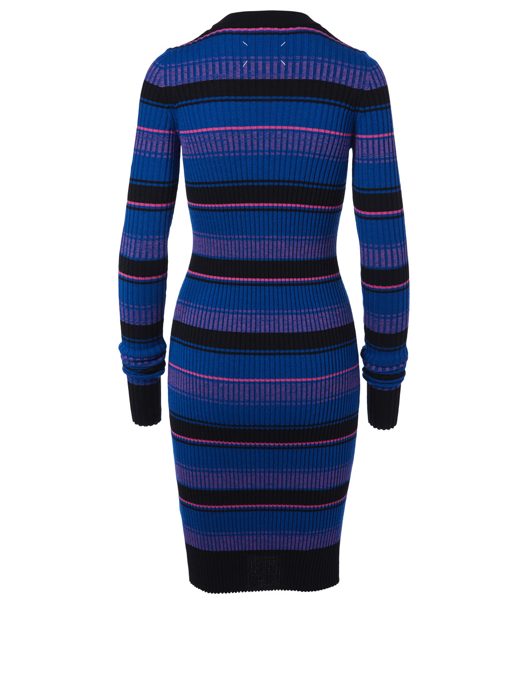 c801fa20922 ... MAISON MARGIELA Wool Rib Knit Sweater Dress In Stripe Womens Multi ...