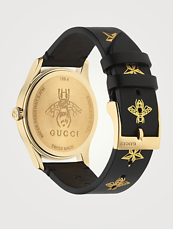 GUCCI G-Timeless Steel Leather Strap Watch Women's Black