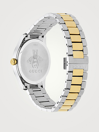GUCCI G-Timeless Large Feline Head Two-Tone Stainless Steel Bracelet Watch Collections Metallic