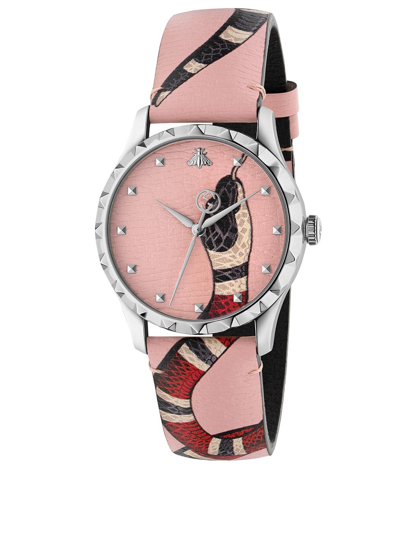 8dd00e31cc3 GUCCI Le Marché Des Merveilles Leather Strap Watch Collections Pink ...