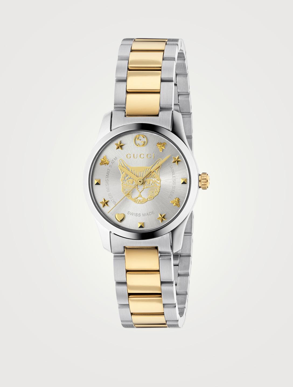 7c382672e9e6 GUCCI G-Timeless Feline Head Two-Tone Stainless Steel Bracelet Watch ...