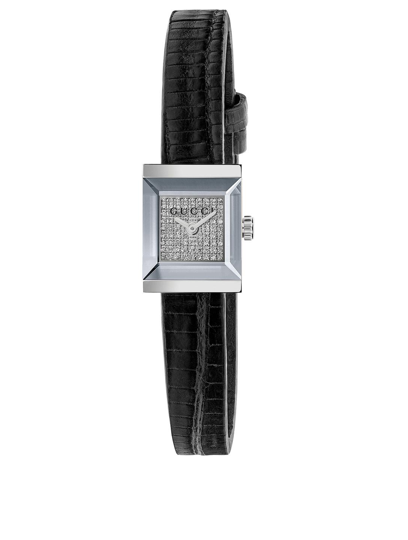 b109ff44ddc GUCCI G-Frame Steel Lizard Strap Watch With Diamonds