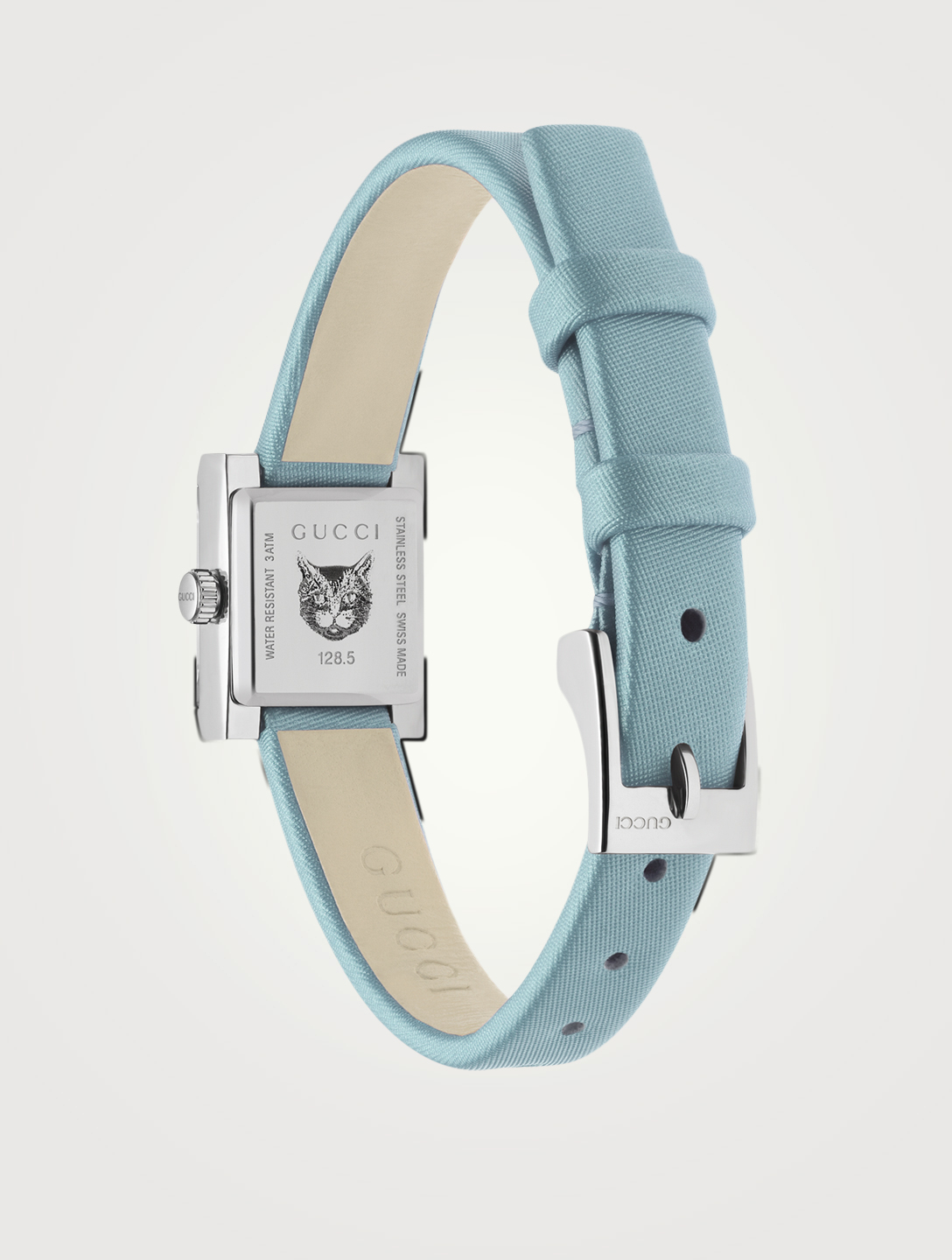 GUCCI G-Frame Small Square Satin Strap Watch Collections Blue