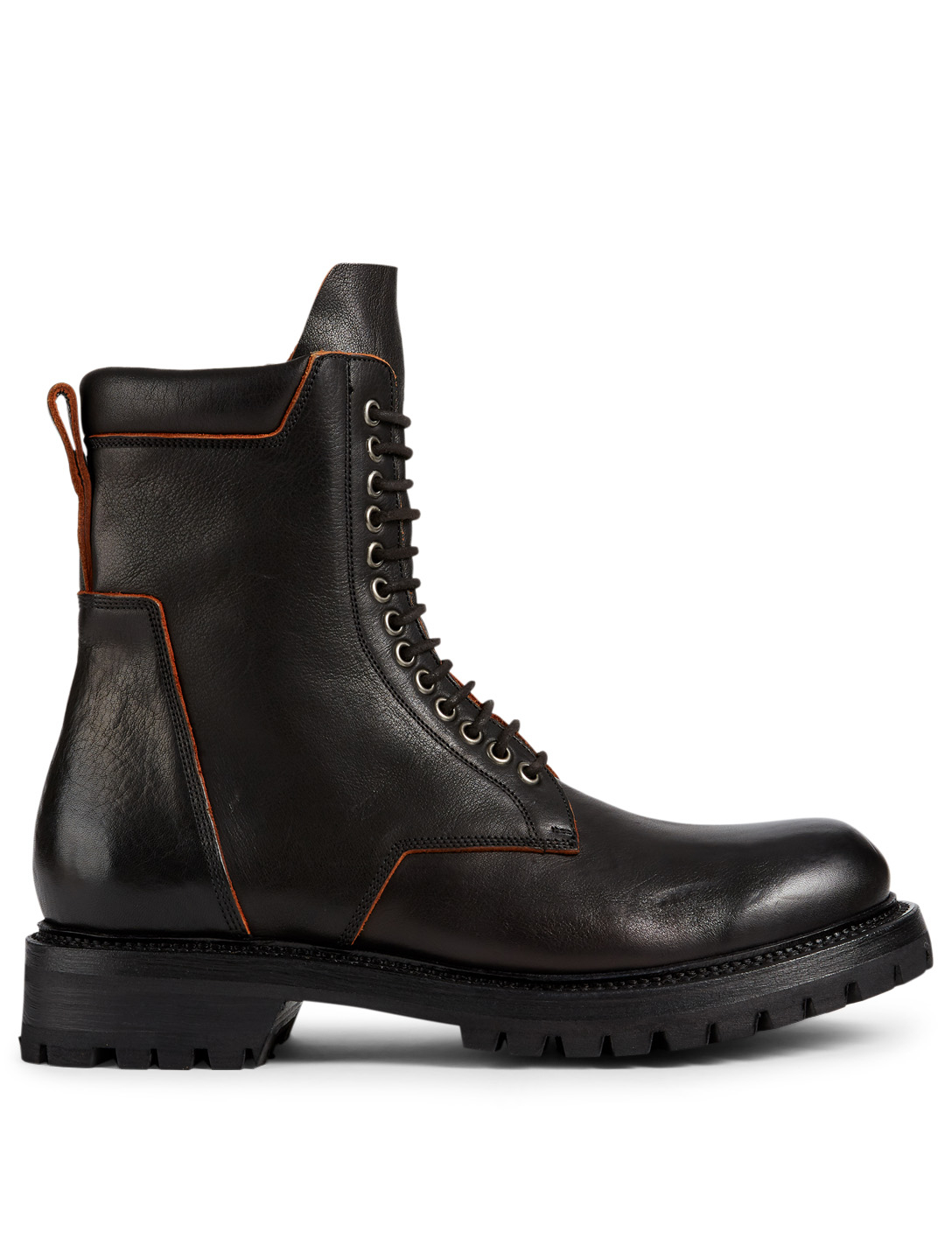 RICK OWENS Leather Army Boots Men's Black