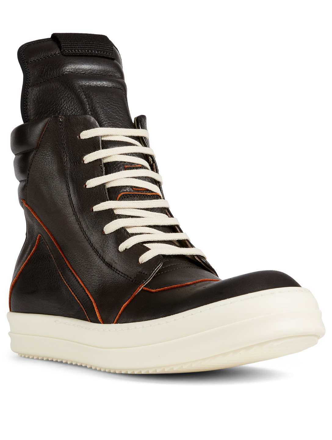 RICK OWENS Geobasket Leather High-Top Sneakers Men's Black