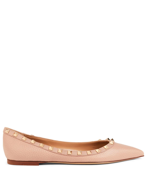 ad7370de9900 VALENTINO GARAVANI Rockstud Leather Ballet Flats