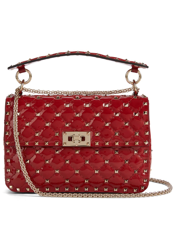 057df7c218 VALENTINO GARAVANI Medium Rockstud Spike Patent Leather Bag | Holt ...