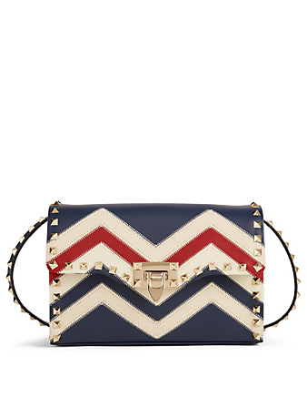 VALENTINO GARAVANI Medium Rockstud Leather Crossbody Bag In Chevron Designers Multi
