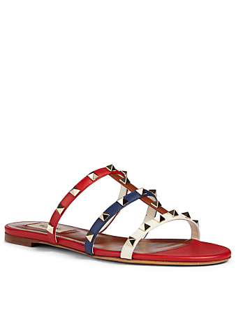 VALENTINO GARAVANI Rockstud Leather Slide Sandals Women's Multi