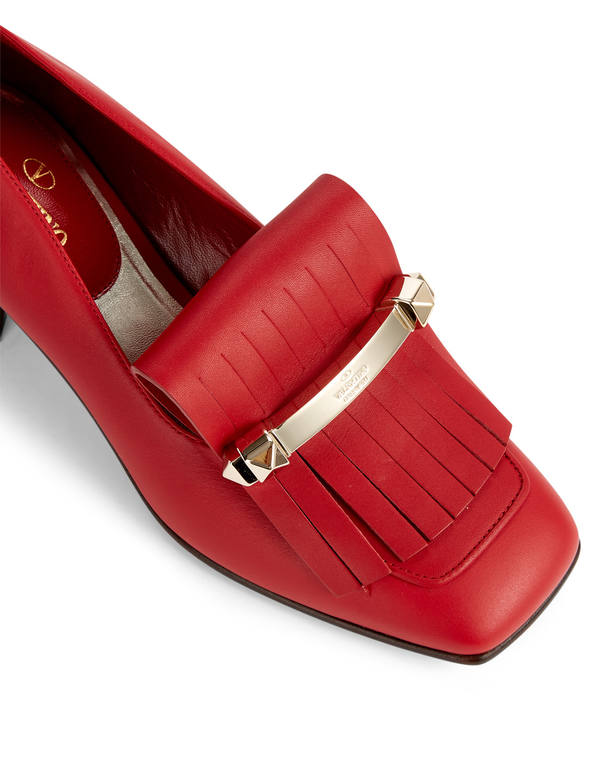 280457bc901 ... VALENTINO GARAVANI Uptown Leather Heeled Loafers Designers Red