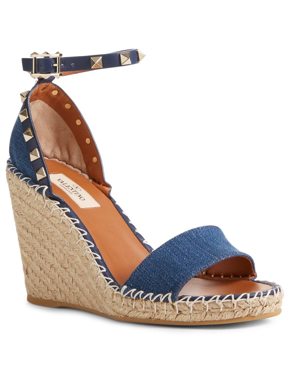 62cb27b3fc70 ... VALENTINO GARAVANI Rockstud Denim Espadrille Wedge Sandals Designers  Blue ...