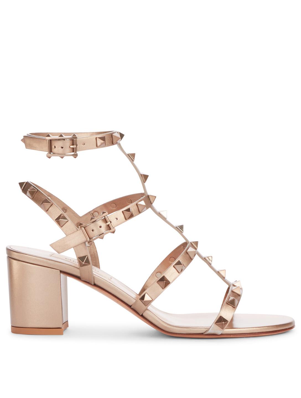 e3a9a3adb70 VALENTINO GARAVANI Rockstud Metallic Leather Cage Heeled Sandals ...