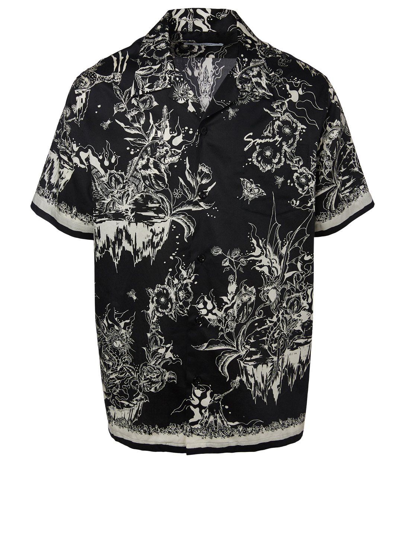 0feecb3b GIVENCHY Short-Sleeve Hawaiian Shirt In Monster Print Men's Black ...