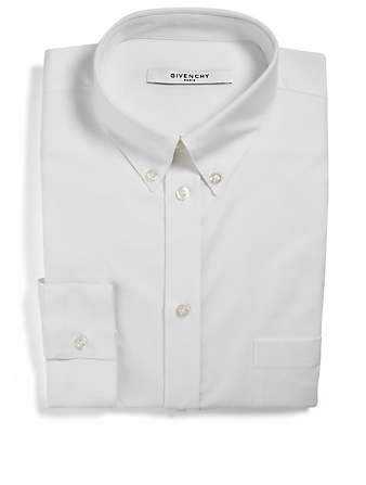 GIVENCHY Button-Down Dress Shirt With Embroidered Logo Men's White