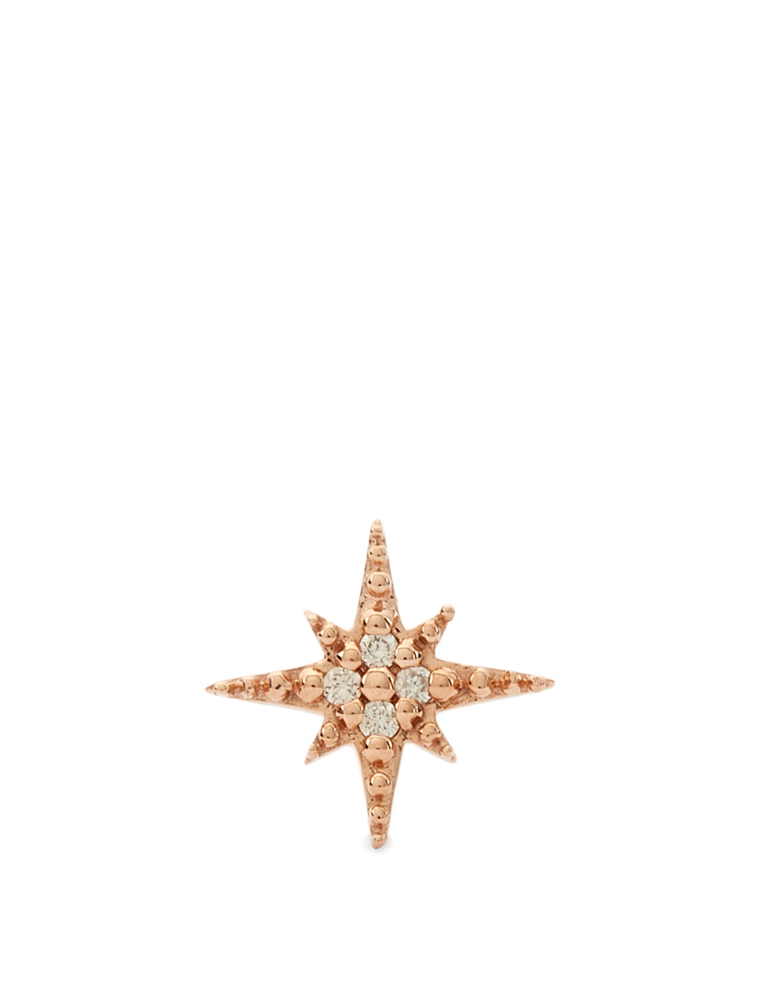 SYDNEY EVAN Mini 14K Rose Gold Starburst Stud Earring With Diamonds Women's Metallic
