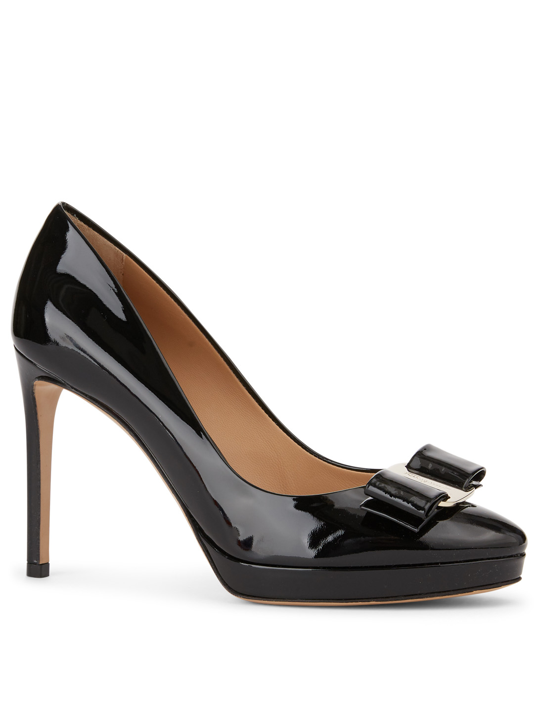 SALVATORE FERRAGAMO Osimo Patent Leather Pumps With Vara Bow Womens Black