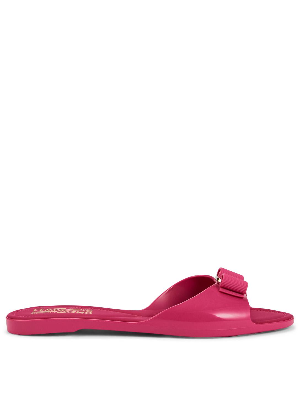 5ba4cb2c8cf2 SALVATORE FERRAGAMO Cirella Jelly Slide Sandals With Vara Bow