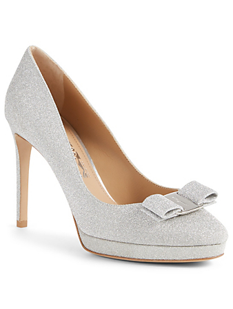 SALVATORE FERRAGAMO Osimo Glitter Pumps With Vara Bow Womens Silver