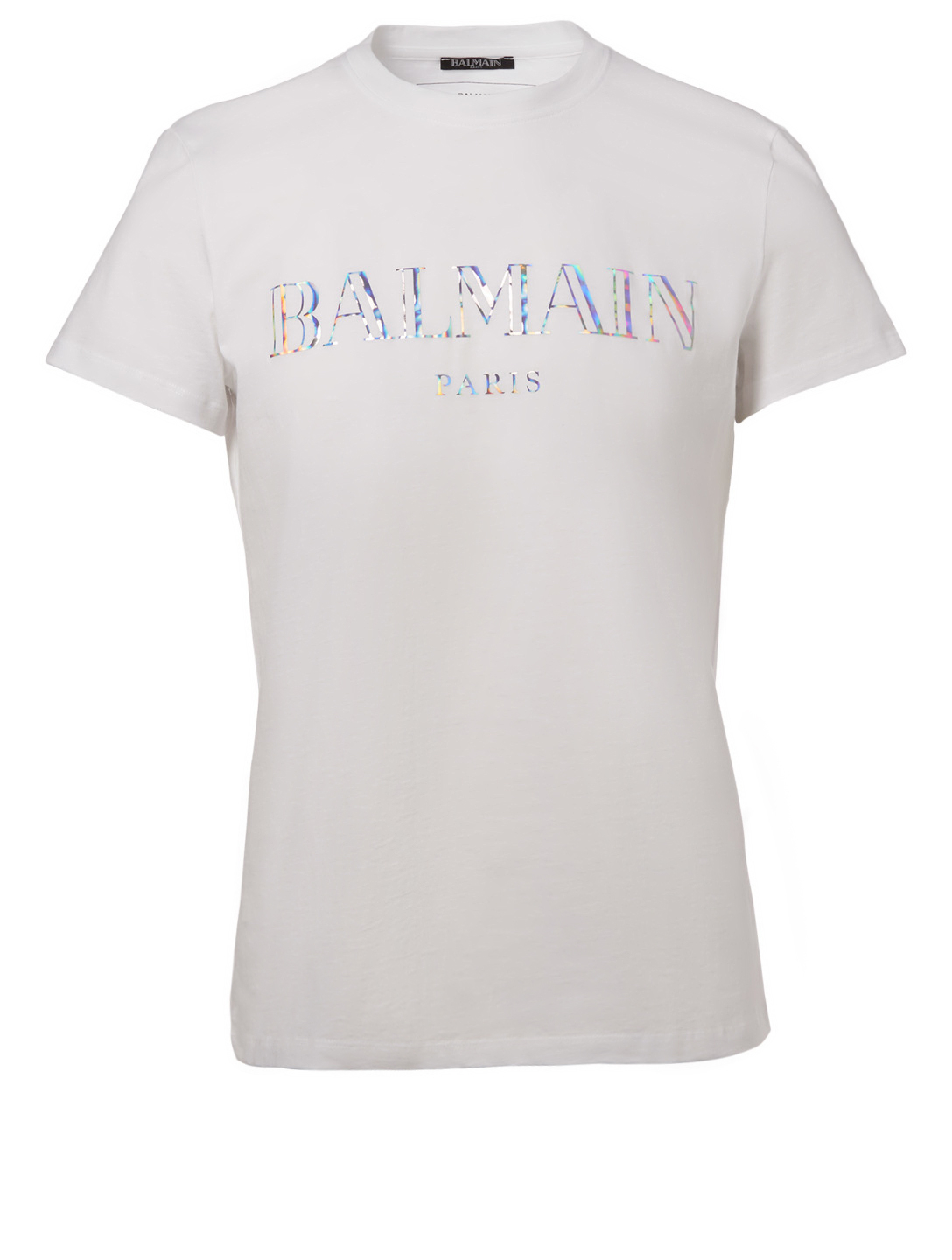 BALMAIN Holographic Logo T-Shirt Men's White