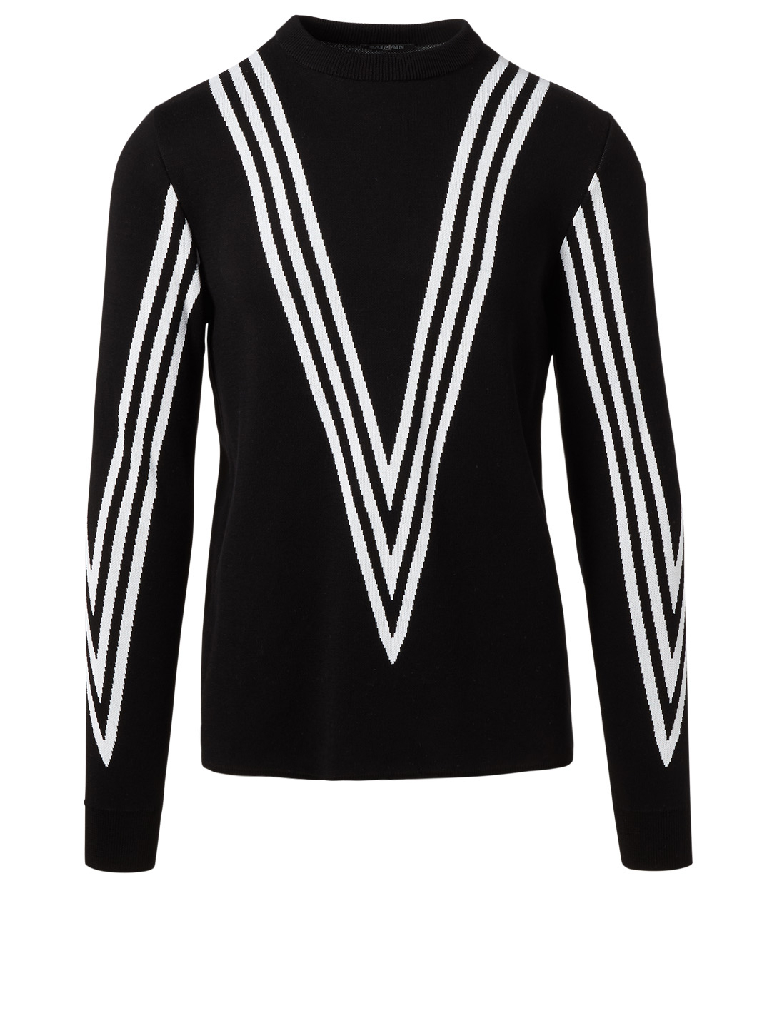 BALMAIN Faux V-Neck Sweater With Stripes Men's Black